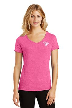 FBF Ladies V-Neck with Shield Logo Left Chest - Pink