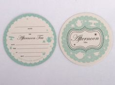 Afternoon Tea invitations and envelopes. 8 pack. Coaster size. $9.95. Available from www.lovetheoccasion.com.au