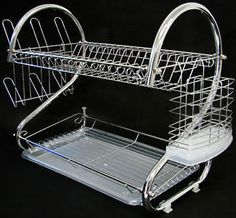 Removable Side mounting mug stand and cutlery holder. 2 Tiers Kitchen Dish Drying Rack with Tray. 2 layer dish rack holds up to 17 plates or bowls. Removable draining tray allows easy removal of excess water.