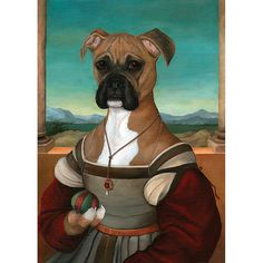 Dog Art Print Betsy the Boxer 5x7 Print by OldWorldPetPortraits