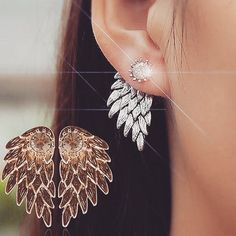 Cheap jewelry earrings, Buy Quality ear studs directly from China earrings earring Suppliers: Bluelans Women's Angel Wings Rhinestone Inlaid Alloy Ear Studs Party Jewelry Earrings Rhinestone Earrings, Silver Earrings, Stud Earrings, Jacket Earrings, Jewellery Earrings, Women's Jewelry, Jewelry Ideas, Jewlery, Unique Jewelry