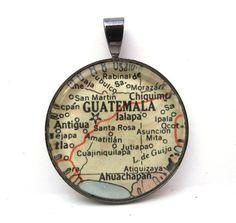 Vintage Map Pendant of Guatemala City by CarpeDiemHandmade, $10.00