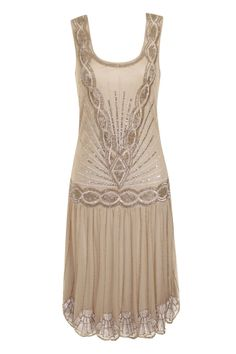 BEIGE NUDE SEQUIN CHARLESTON FLAPPER uk 12 GATSBY dress 1920's ART DECO #frockandfrill #20s #Cocktail