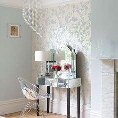 Pastel bedroom dressing table Hanging wallpaper behind this dressing area has defined it as a space separate from the rest of the bedroom. The mirrored furniture and perspex chair create a light and airy feel. Wallpaper Design For Bedroom, Interior Wallpaper, Wallpaper Ideas, Bold Wallpaper, Wallpaper Designs, Duck Egg Blue Wallpaper, Wallpaper Bedroom Vintage, Feature Wallpaper, Temporary Wallpaper