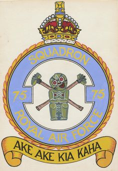 75(NZ) Squadron RAF Crest. The Crest was painted by a man named Greenham, a commercial artist who was from Caulfield in Melbourne Victoria where Owen lived at the time. They were both waiting for the troop ship to bring them home after the war. Someone had drawn the little black and white sketch of the mascot and Owen paid 10 shillings for the man to paint it for him. © Owen Cook