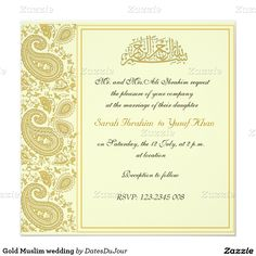 gold muslim wedding invitation