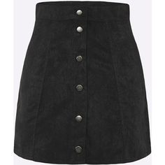 Yoins Black Suede High-rise Button A-line Skirt (€17) ❤ liked on Polyvore featuring skirts, black, a line button skirt, high waisted skirts, suede a line skirt, suede button skirt and high-waisted skirts