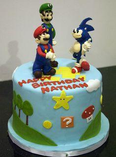 soniccakes:  Sonic and Mario Bros Cake  SOURCE  #anime #cosplay #costume #otaku #gamer #videogames