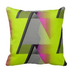 Neon 80s Pattern throw pillow