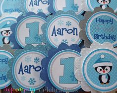 Set of 12 Personalized Mr Blue Penguin Collection -Blue and Grey Cupcake Toppers -Baby Shower-1st Birthday Party -Onederland