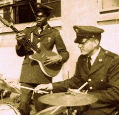 Private James Marshall Hendrix of the 101st Airborne, playing guitar at Fort Campbell Kentucky 1962