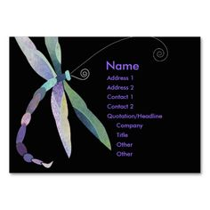 Whimsical Dragonfly on Black Business Cards created by This design is available on several paper types and is totally customizable. Sample Business Cards, Spa Business Cards, Black Business Card, Massage Business, Growing Your Business, Business Fashion, Tool Design, Quotations, Whimsical