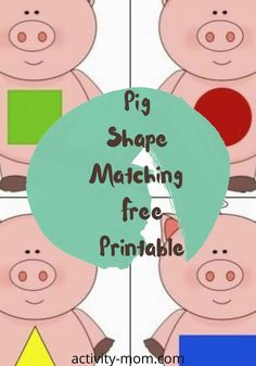 Pig Shape Matching Free Printable for Preschoolers and Toddlers. Use the pig shape matching printable in a busy bag or use as a memory game.   #shapes #kids #matching #busybag #preschooler #toddler Shape Matching, Matching Games, Kids Learning Activities, Fun Learning, Free Shapes, Activity Board, Memory Games, Easy Crafts For Kids, Educational Games