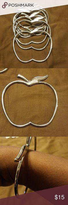 Set of 7 Apple Shape Bracelets Silver Plated Bracelets Jewelry Bracelets