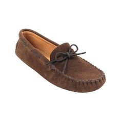 Men's Minnetonka Driving Moc - Chocolate Suede Casual ($43) ❤ liked on Polyvore featuring men's fashion, men's shoes, men's loafers, brown, casual, suede shoes, mens shoes, mens driving moccasins, mens brown suede shoes and mens suede shoes