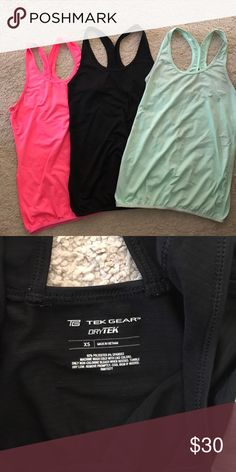 Racerback Workout Tops Awesome tek gear tops. Elastic bottom so they aren't too fitted. Great colors! Hot pink, black, and mint green. EUC. All x-small. tek gear Tops