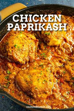 This Hungarian chicken paprikash recipe is authentic and easy to make, with seared chicken simmered and served in creamy paprika sauce. Mild or spicy! Spicy Chicken Recipes, Chicken Thigh Recipes, Recipe Chicken, Chicken Thighs Indian Recipe, Indian Chicken Recipes, Paprika Sauce, Bone In Chicken Thighs, Paprika Chicken Thighs, Skillet Chicken Thighs