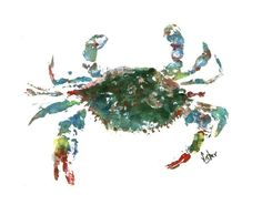 Blue Crab  Gyotaku Fish Rubbing  Limited Edition by fredfisher, $45.00