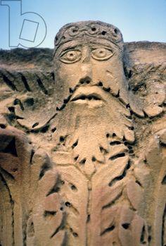 Capitale raffigurante uno spirito vegetazione, da Cartagine, seconda-terzo secolo (pietra)