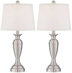Blair Modern Table Lamps Set of 2 Brushed Steel Metal White Drum Shade for Living Room Family Bedroom Bedside Nightstand - Regency Hill Table Lamps For Bedroom, Metal Table Lamps, Table Lamp Sets, Transitional Table Lamps, Contemporary Table Lamps, Contemporary Style, Modern Table, Steel Table, Unique Lighting