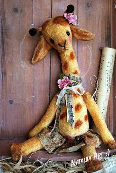 Vintage Sweet Giraffe by bear aritst Natali by NataliSekreta, $149.00