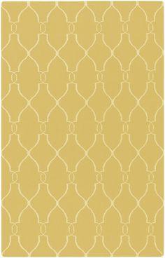 mustard yellow rug with diamond pattern