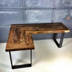 wooden office desk. L Shape Desk Crafted Of Reclaimed Wood With Pipe Legs Or Square Steel | Crafts, Pipes And Desks Wooden Office
