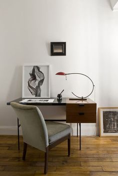 60s furniture, home workspace desk, neat frame and solid storage.  Amazing choice of light.