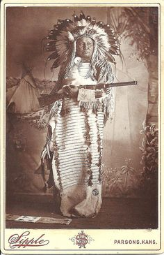 Indian Chief with Winchester. Pinned by indus® in honor of the indigenous people of North America who have influenced our indigenous medicine and spirituality by virtue of their being a member of a tribe from the Western Region through the Plains including the beginning of time until tomorrow.
