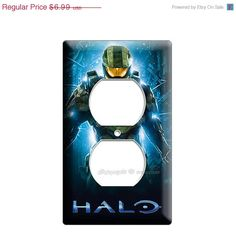 Halo 4 Master Chief single GFI light switch  video cable cover wall plate children gamer boys video game room man cave art decoration 2 3 5
