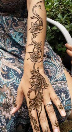Flowers and Peacocks Arabic Mehndi Tattoo