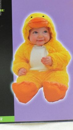 NWT Soft Yellow Duck Costume Baby Infant Hooded Jumper Outfit 6-12 Months…