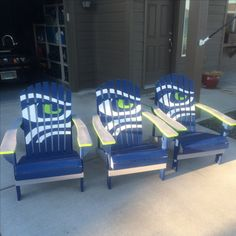 My Seahawks chairs that I paint. #gohawks #seahawks
