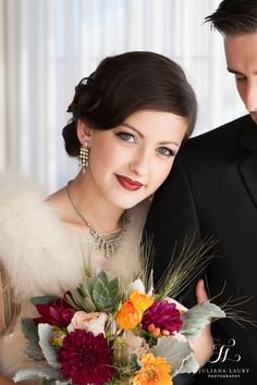 Vintage wedding makeup, red lip and vintage jewelry