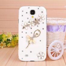 New Transparent shell diamond Resin Ballet girl case for sams galaxy S4 case for I9500 Mobile Border Protection free shipping