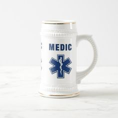Medic Star of Life Beer Stein  firefighter volunteer, womens firefighter, firefighter uniform #militarydeployment #blackandtan #firegifts, 4th of july party Firefighter Halloween, Firefighter Home Decor, Firefighter Humor, Dog Lover Gifts, Dog Gifts, Paramedic Gifts, German Beer Mug, Medical Gifts, Uncommon Gifts