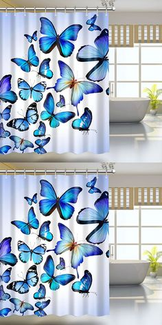 $16.73 Butterfly Print Waterproof Mildewproof Shower Curtain