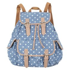 Printed Canvas Backpack ❤ liked on Polyvore