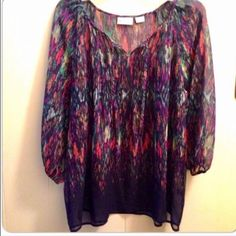 🎈SALE🎈Liz Claiborne sheer blouse This multi colored blouse has a deep purple background. This is a petite XL. It's sheer and comes with a camisole underneath unless you are daring enough to go without! Loose fitting... Looks great with jeans or dress it up with a stylish pair of dress pants! Liz Claiborne Tops Blouses