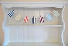 Beach Hut Wooden Bunting, Hand Painted in Bold Summer Colours, Beach Themed Wedding Decor, Coastal Home Accent Summer Stripes, Deck Chairs, Light Turquoise, Coastal Homes, Blue Yellow, Navy Blue, Summer Colors, Beach Themes, Home Accents
