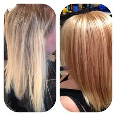 Took her from grow out platinum blonde to a more strawberry blonde! Beauty 101 Salon Oceanside