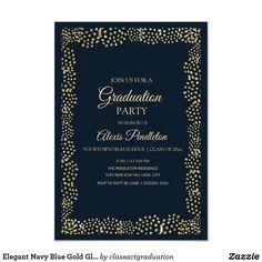 Shop Elegant Navy Blue Gold Glitter Graduation Invitation created by classactgraduation. Blue Gold, Navy Blue, Gold Class, High School Classes, Graduation Party Invitations, Elegant Invitations, Grad Parties, Paper Design, White Envelopes