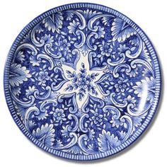 7107 Portuguese Plate Tiles Spanish Antique Majolica Designs XVII XVIII BLUE FLOWERS