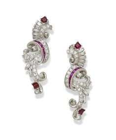A pair of ruby, diamond and platinum earrings Retro
