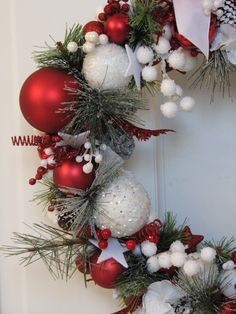 Red and White Christmas Wreath - READY TO SHIP- Ornament Wreath, Holiday Wreath, Evergreen Wreath, Red Wreath on Etsy, $75.50