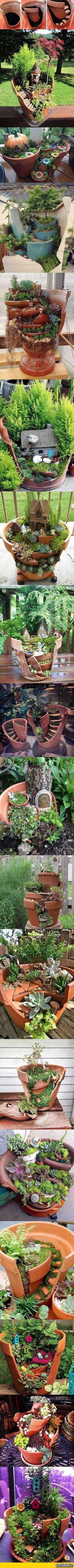 Nice 23 Diy Fairy Garden Ideas Homemade https://ideacoration.co/2018/02/03/23-diy-fairy-garden-ideas-homemade/ You end up getting a 3 tiered garden look which is both stunning and space saving.