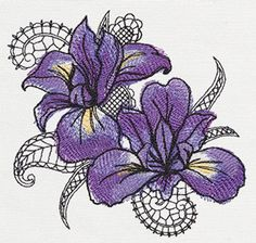 Petals and Lace - Iris | Urban Threads: Unique and Awesome Embroidery Designs