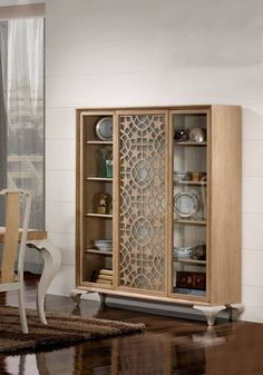 Dinning Room Cabinet, Home Bar Cabinet, Kitchen Cabinet Remodel, Dining Room Design, Art Deco Furniture, Furniture Design, Crockery Cabinet, Crockery Units, Bedroom Bed Design