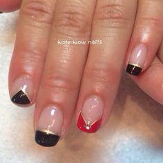 Samantha's nail design! #frenchnails #bred #goldlines #rhinestones #nailgasm #nailporn #naildesign #nailjunkie #naildesigns #wowwownails #toronto