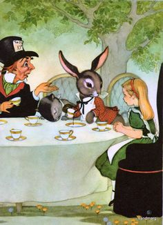 Alice, le Chapelier fou et le lièvre au pays des Merveilles, à l'heure du thé !